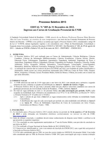 Edital do Processo Seletivo 2013 - Portal de Processos Seletivos ...