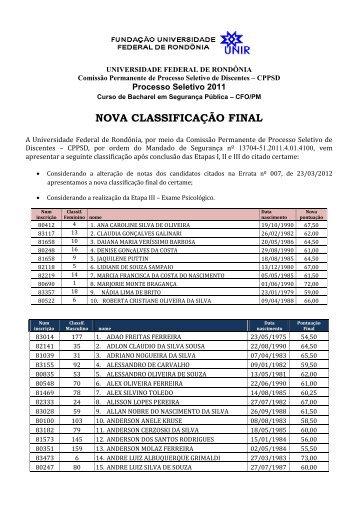 NOVA CLASSIFICAÇÃO FINAL - Portal de Processos Seletivos