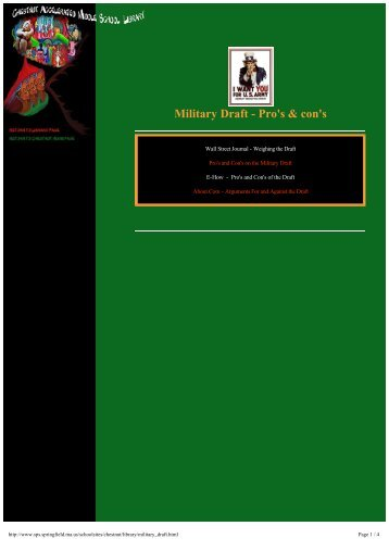 Military Draft - Pro's & con's - ProCon.org