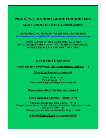 MLA STYLE: A SHORT GUIDE FOR WRITERS - ProCon.org