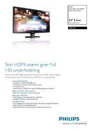 244E1SB/00 Philips LCD-skærm med HDMI, Audio, SmartTouch