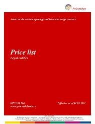 Price list - ProCredit Bank