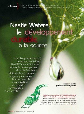 Nestlé Waters, le développement durable à la source - Prodimarques