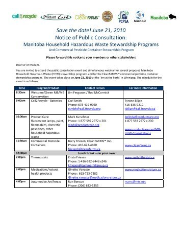 Save the date! June 21, 2010 Notice of Public ... - Product Care