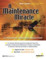An Autonomous Maintenance Kaizen Event - Productivity Inc