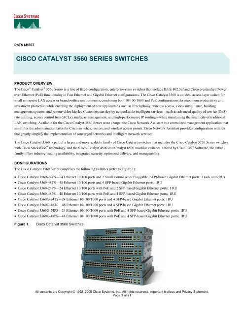 cisco catalyst 3560 series switches - Great value broadband