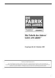 Die Fabrik des Jahres/ GEO AWARDSSM - Produktion