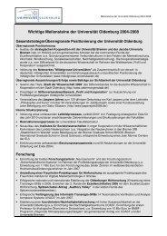 Wichtige Meilensteine der Universität Oldenburg 2004-2008