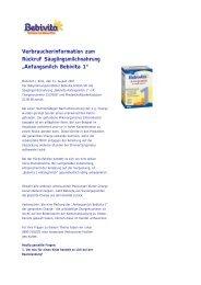 Bebivita - Aktuelle Information: - Produktrueckrufe.de