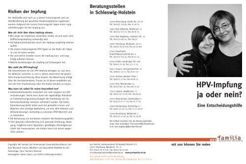 Hpv Impfung Ja Oder Nein Pro Familia Schleswig Holstein