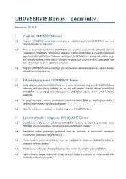 CHOVSERVIS Bonus – podmínky - Profarm