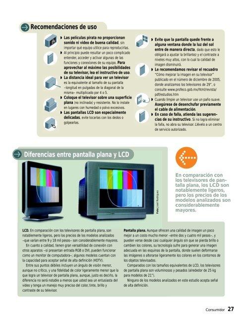 Televisores medianos de pantalla - Profeco