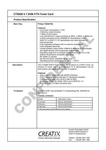 CTX926 V.1 Dvb-T/Tv-Tuner Card - CREATIX