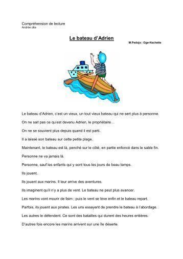 Compréhension de lecture Le bateau d'Adrien - Professeur Phifix
