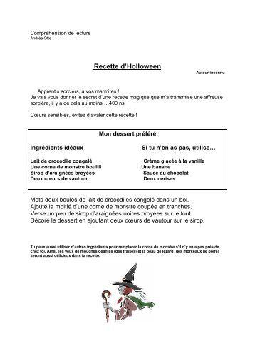 Compréhension de lecture Recette d'Halloween - Professeur Phifix