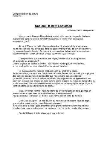 Compréhension de lecture Nadlouk, le petit ... - Professeur Phifix