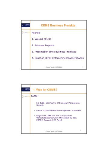CEMS Business Projekte - Professional Center - Universität zu Köln