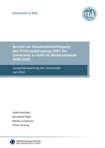 Gesamtauswertung der Universität – Juli 2010 - Professional Center ...