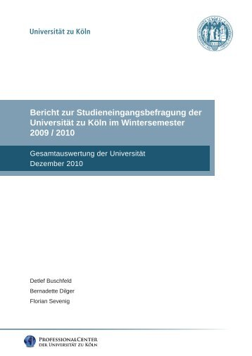Ergebnisbericht Wintersemester 2009/2010 - Professional Center ...