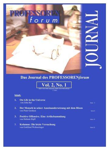 Vol. 1, No. 1 Vol. 2, No. 1 - Professorenforum
