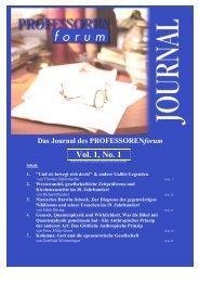 Vol. 1, No. 1 Vol. 1, No. 1 - Professorenforum