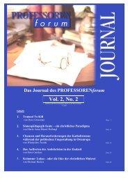 Vol. 1, No. 1 Vol. 2, No. 2 - Professorenforum