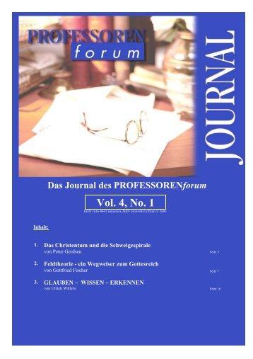 Vol. 1, No. 1 Vol. 4, No. 1 - Professorenforum