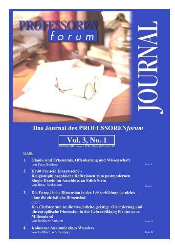 Vol. 1, No. 1 Vol. 3, No. 1 - Professorenforum
