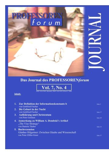 Vol. 1, No. 1 Vol. 7, No. 4 - Professorenforum