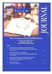 Vol. 1, No. 1 Vol. 3, No. 2 - Professorenforum