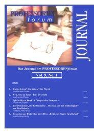 Vol. 1, No. 1 Vol. 9, No. 1 - Professorenforum