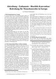Abtreibung - Euthanasie - Bioethik-Konvention: Bedrohung für ...