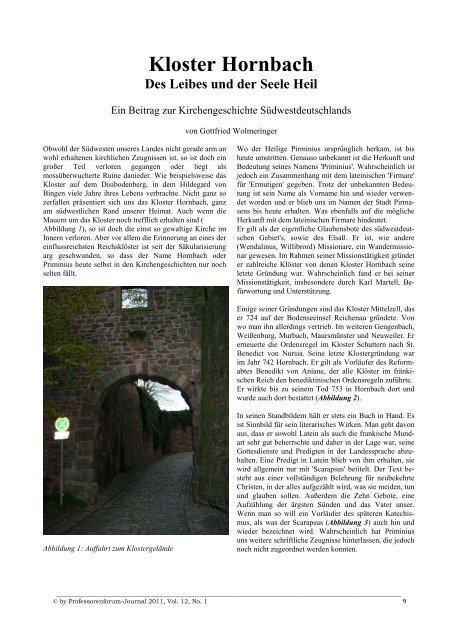 Kloster Hornbach - Des Leibes und der Seele Heil - Professorenforum