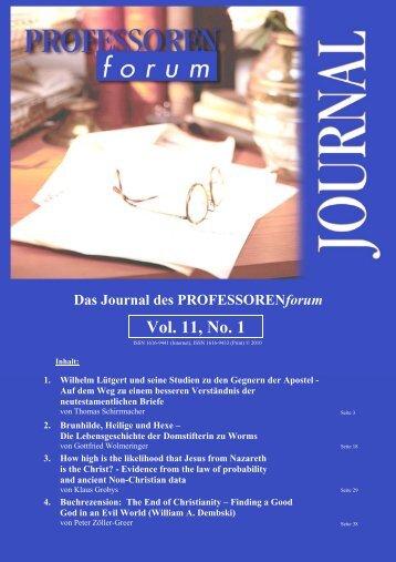 Das Journal des PROFESSORENforum Vol. 11, No. 1