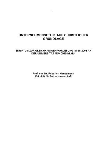 unternehmensethik auf christlicher grundlage - Professorenforum