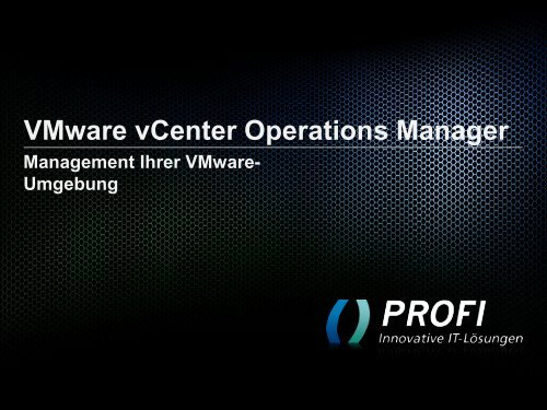 Webcast - Vmware vCenter Operations Manager