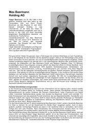 Max Baermann Holding AG - Profile Regierungsbezirk Köln