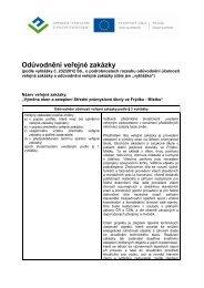 Odůvodnění veřejné zakázky - Profil zadavatele