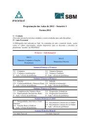 Programação das Aulas de 2012 – Semestre 1 Turma 2012 - Profmat