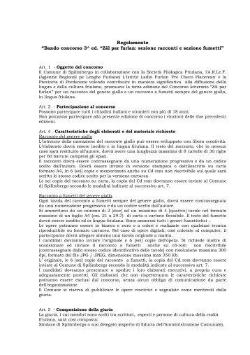 Regolamento e scheda di iscrizione 3^ edizione ... - Progetto giovani