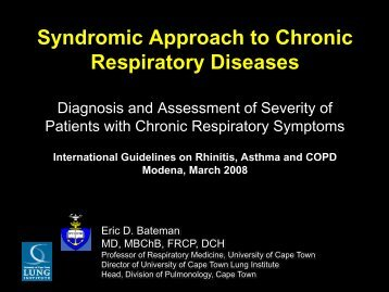 Syndromic Approach to Chronic Respiratory ... - Progetto LIBRA