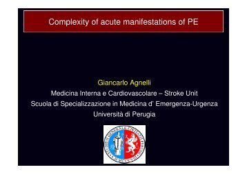 Complexity of acute manifestations of PE - Progetto LIBRA
