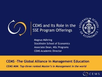 CEMS and Its Role in the SSE Program Offerings