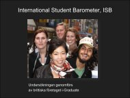 Resultat från International Student Barometer, ISB (pdf)