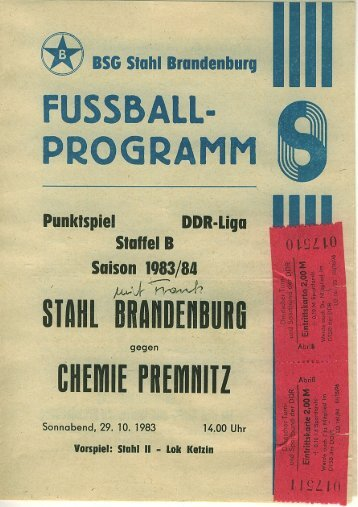 Stahl Brandenburg-Premnitz 83-84 - Premnitz-archiv.de