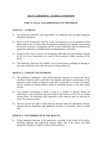 GRANT AGREEMENT - GENERAL CONDITIONS PART A: LEGAL ...