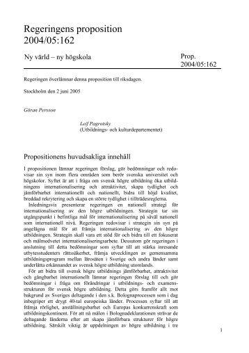 ny högskola, Prop. 2004/05:162 - Internationella programkontoret för ...