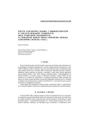 Pełny tekst (PDF) - Progress in Plant Protection/Postępy w Ochronie ...