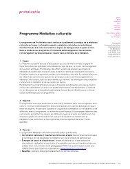 Factsheet Programme Médiation culturelle (PDF) - Pro Helvetia