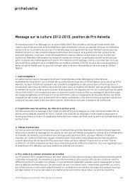 Message sur la culture 2012-2015, position de Pro Helvetia